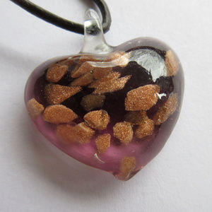 Heart Necklace w/ Leather Chain